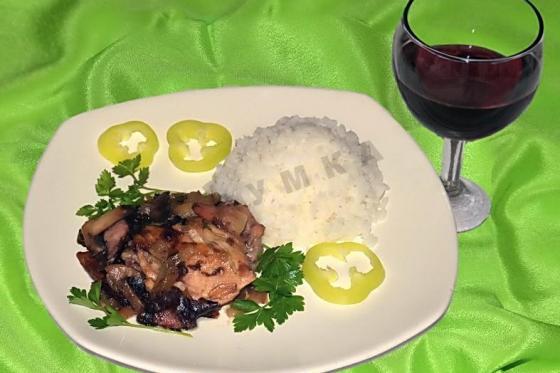Кулинарный рецепт Курица в красном вине